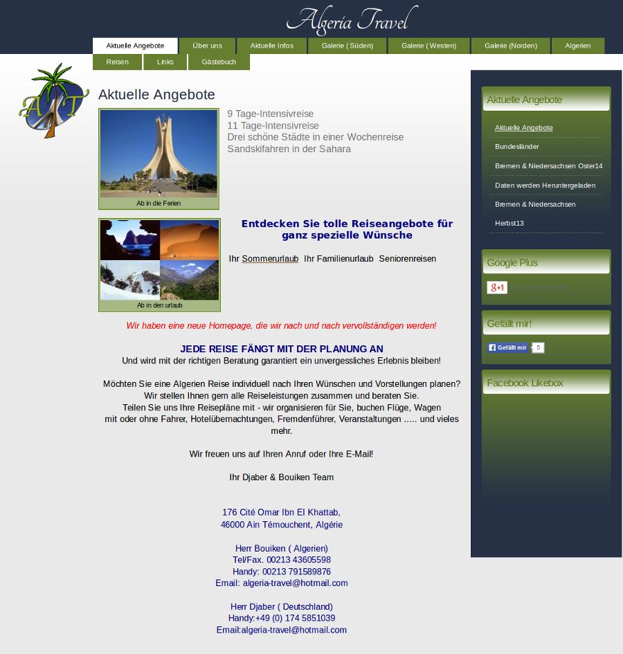 Beispiel-Seite für Reisebüro