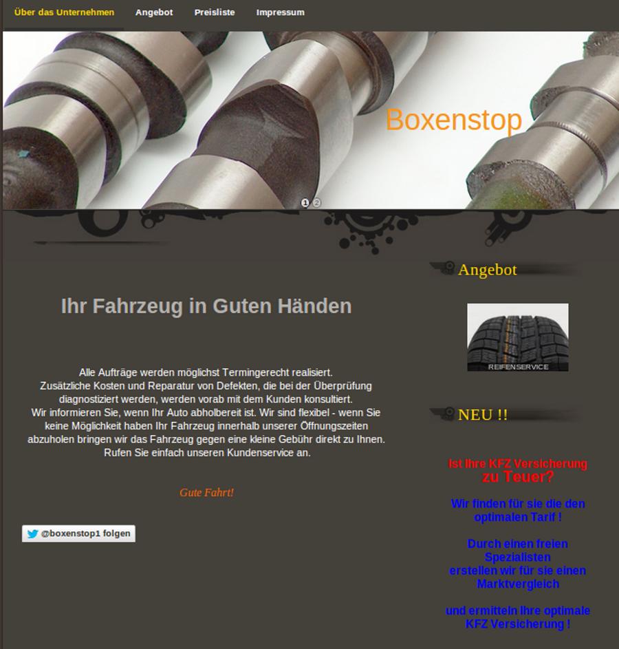 Internetseite für Autowerkstatt