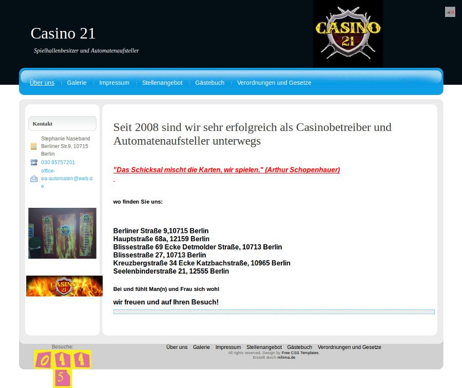 Beispiel-Seite für ein Casino