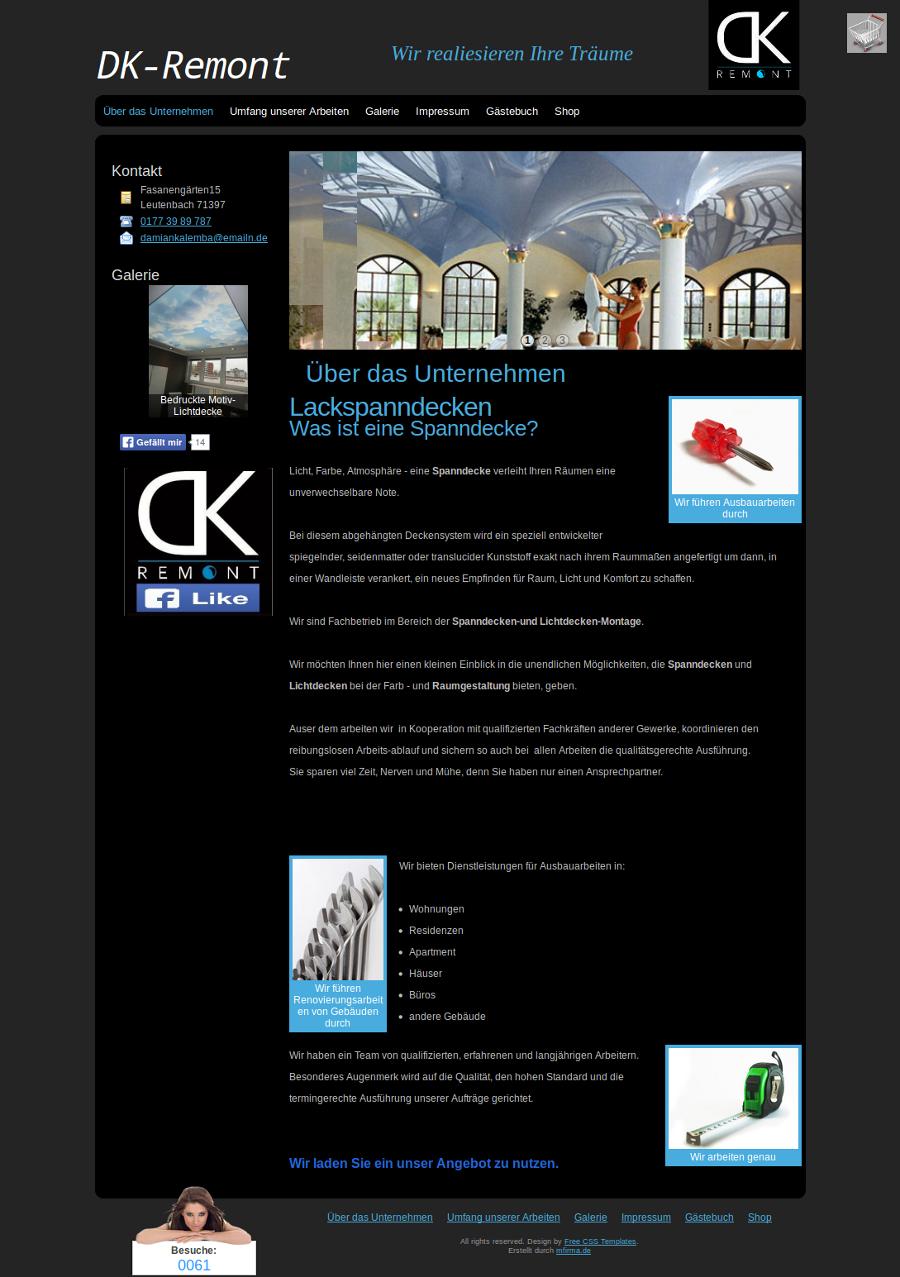 Beispiel-Seite für ein Unternehmen, das sich mit Spanndecken-und Lichtdecken-Montagen beschäftigt