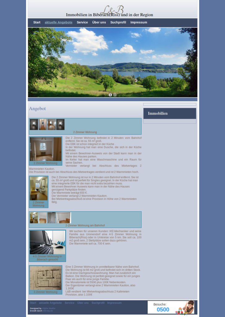 Beispiel-Seite für Immobilienmakler