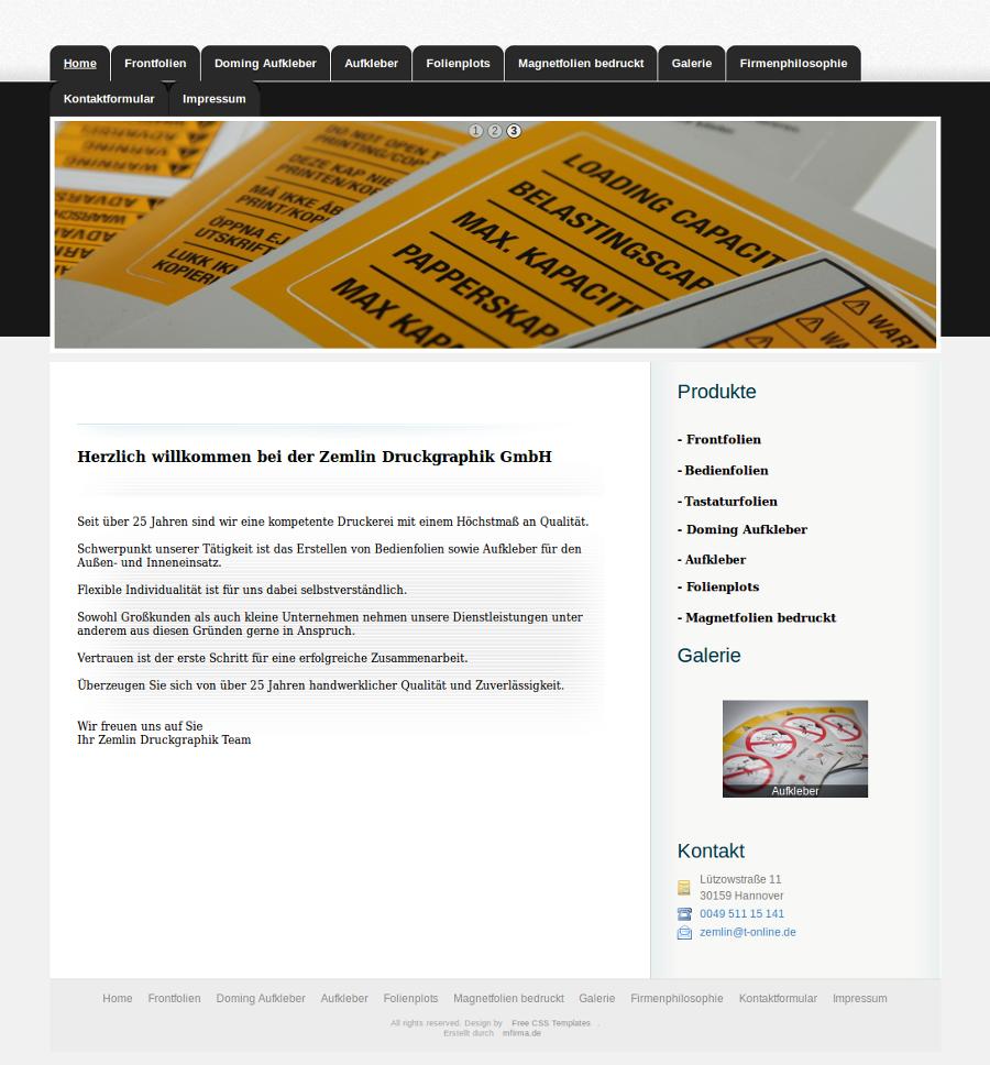 Beispiel-Seite für eine Druckerei