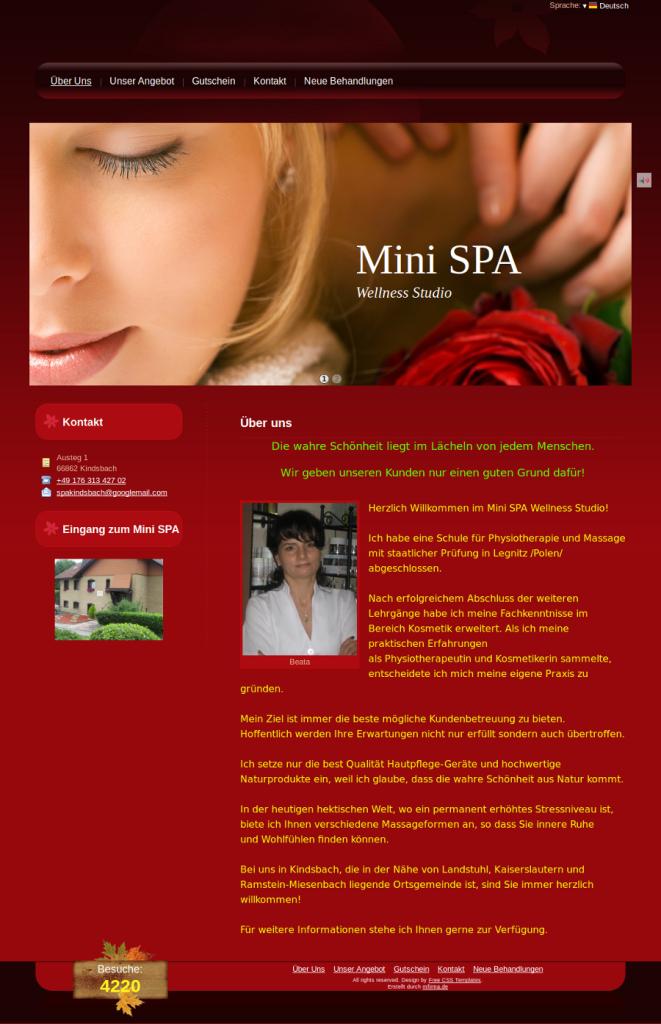 Beispiel-Seite für ein Mini SPA Wellness Studio