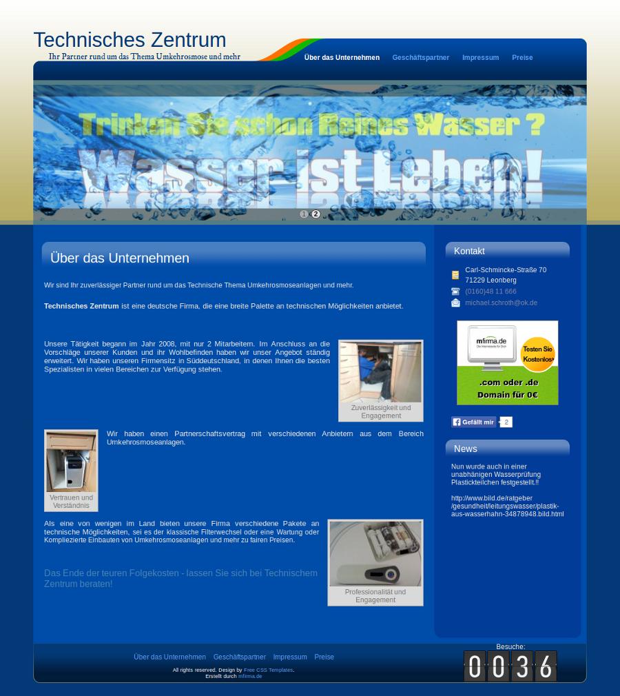 Beispiel-Seite für ein Unternehmen, das sich mit dem technischen Thema Umkehrosmoseanlagen beschäftigt