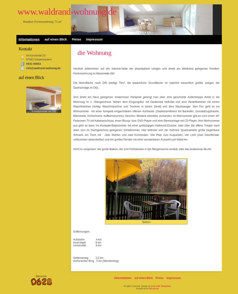 Beispiel-Seite für eine Ferienwohnung