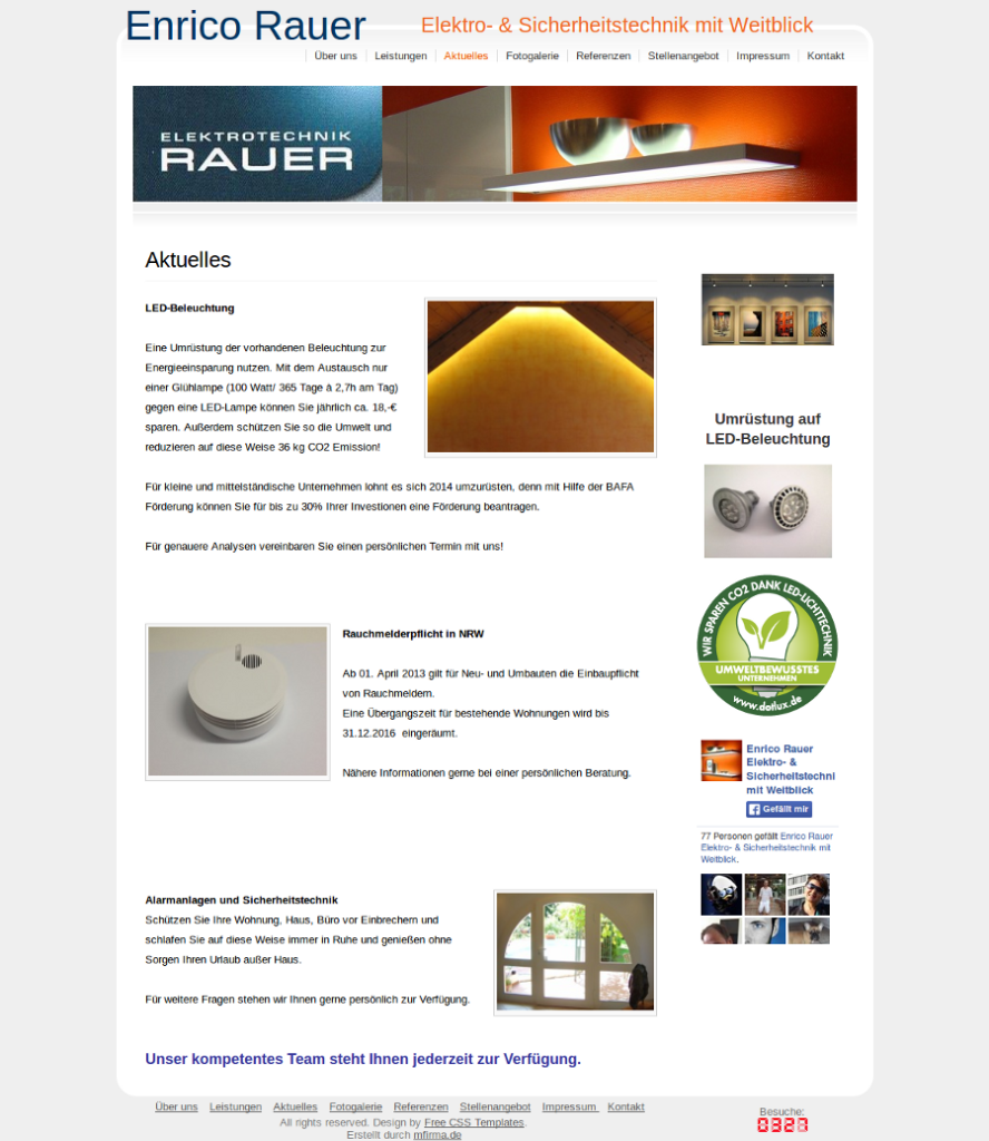 Beispiel-Seite für einen Kabelverlegerbetrieb