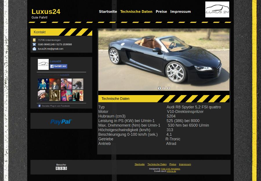 Beispiel-Seite für einen Autoverleih